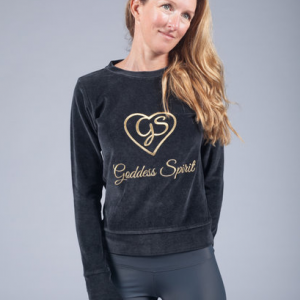 goddess spirit velours sweater black 1