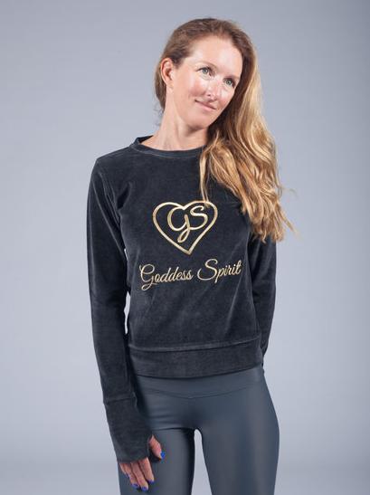 goddess spirit velours sweater black 1