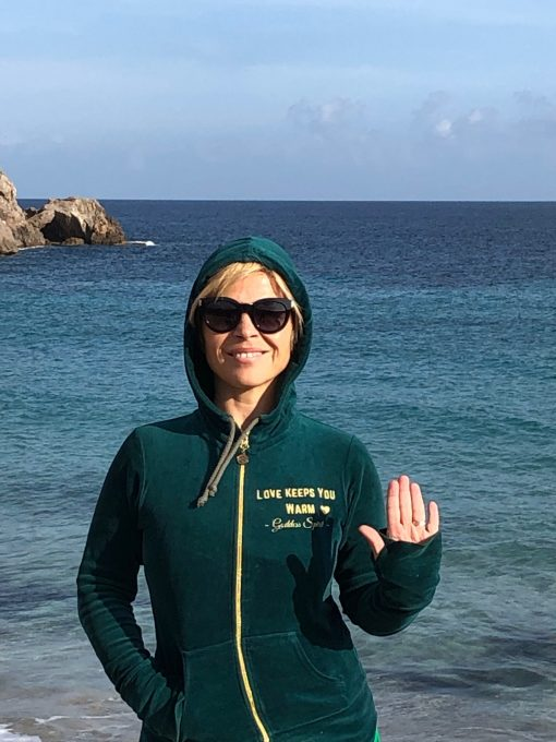 green velour heart chakra hoodie 1